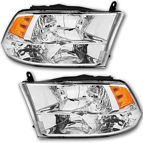 JSBOYAT Headlight Assembly Replacement for 2009-2018 Dodge Ram 1500 2500 3500 Pickup Headlamp with Chrome Housing Driver and Passenger Side