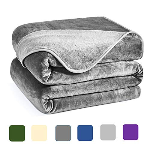Charm Heart CHARMHEART Luxury Fleece Blanket,Super Soft Warm 350GSM Blankets Thick Blanket for Home Bed Blankets King Size, Smoke Grey 90×108 I