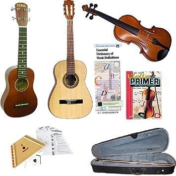 ... Pack de Principiante ukelele Soprano, Violín (tamaño 3/4),, estudiantes Nylon Guitarra y melodía Arpa Bundle w/libros: Amazon.es: Instrumentos musicales