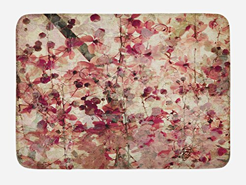 Ambesonne Antique Bath Mat, Grungy Effect Cherry Blossoms on Ribbed Bamboo Retro Background Floral Art Work, Plush Bathroom Decor Mat with Non Slip Backing, 29.5