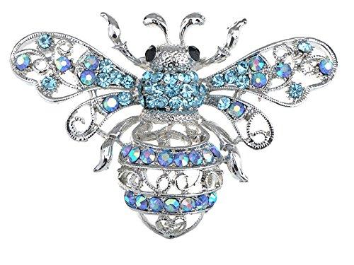 Aqua Blue Rhinestone (Alilang Silvery Tone Aqua Light Blue Crystal Rhinestone Queen Bee Pin Brooch Insect Bug)