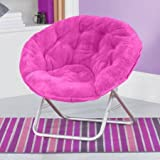 Soft Kids Folding Saucer Chair Designed for Comfort and fun with AERii emoji pillow (Pink Faux Fur)