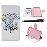 S6 Case, Galaxy S6 Case, iYCK Premium PU Leather Flip Folio Carrying Magnetic Closure Protective Shell Wallet Case Cover for Samsung Galaxy S6 with Kickstand Stand - Butterfly Floral Tree