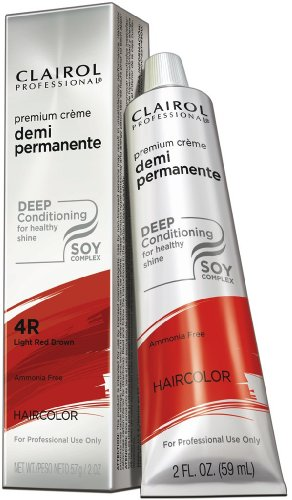 Clairol Premium Crème Demi Permanent Hair Color - #4R Light Red Brown 2 oz. (Pack of 6)