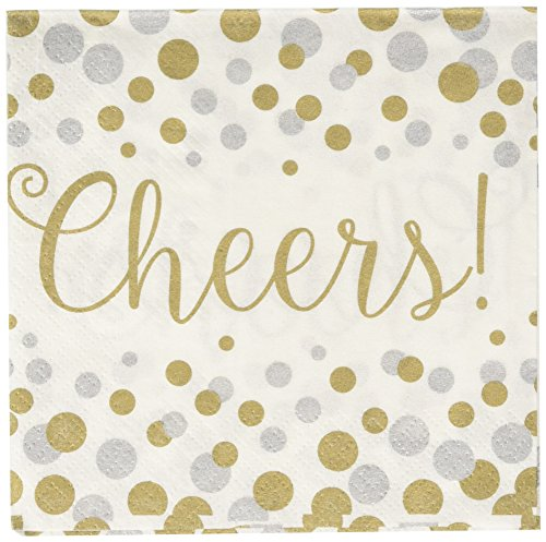 Amscan Durable Silver & Gold Confetti Cheers Beverage Napkins Tableware Childrens Party , Printed Confetti, 192 Pieces (Printed Party Confetti)