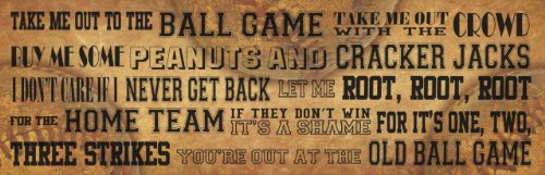 take me out to the ball game, printed canvas art, 30 by 10-inch great for any baseball lover!