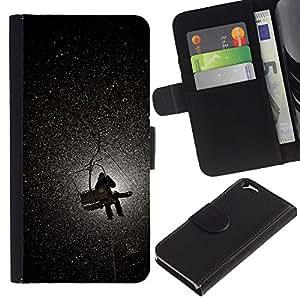 LASTONE PHONE CASE / Lujo Billetera de Cuero Caso del tirón Titular de la tarjeta Flip Carcasa Funda para Apple Iphone 6 4.7 / Mountain Moon Lift Snow Winter