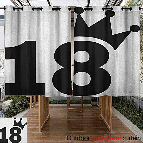 AndyTours Outdoor Grommet Top Curtain Panel,18th Birthday,Cartoon Soccer Jersey Seem Bold 18 Number Party Sports Playing Art Print,Simple Stylish,K160C115 Black and White ()