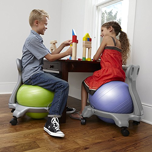 Gaiam Kids Balance Ball Chair - Classic Children's Stability Ball Chair, Alternative School Classroom Flexible Desk Seating for Active Students with Satisfaction Guarantee, Green by Gaiam (Image #6)