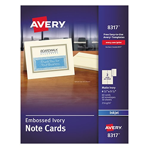 Embossed Graphics Invitations - Avery 8317 Embossed Note Cards, Inkjet, 4 1/4 x 5 1/2, Matte Ivory (Pack of 60, with Envelopes)