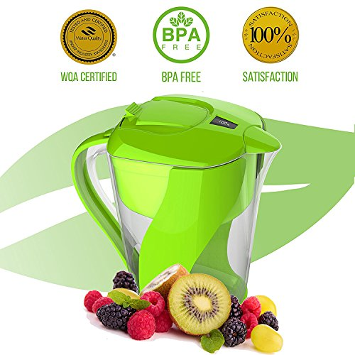 Premium Alkaline Water Filter Pitcher By PureGreen | 3,5L Water Ionizer, Filters Fluoride, Lead & Bacteria | 6 Layer Filtering System Cartridge For Healthy, Clean &Toxin-Free Mineralized Water Alkaline Ball