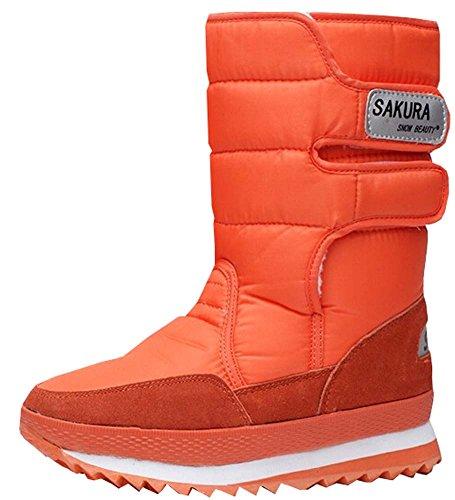 waterproof boots shoes platform leg Boots women Orange high snow snow boots women fqx7Hw0