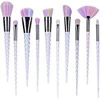 NewBee 10Pcs Unique Unicorn Makeup Brushes Set Fantasy Synthetic Kabuki Cosmetics Brush Kit