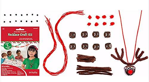 Jingle Bell Necklace Craft - Jingle Bell Reindeer Necklace Craft Kit - Makes 8