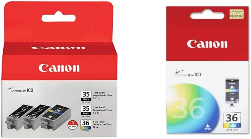 2-Black//1-Color - Generic AIM Compatible Replacement for Canon PGI-35//CLI-36 Inkjet Combo Pack 1509B007