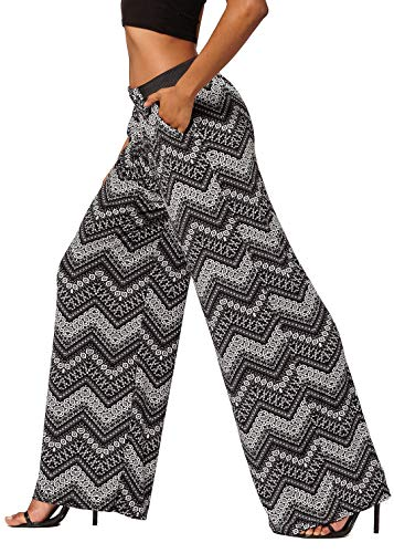 (Conceited Women's High Waisted Wide Leg Printed Palazzo Pants with Pockets - Upper Echelon - One Size - LG237X188)