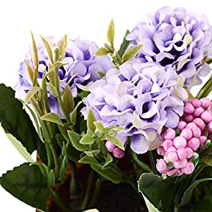 The Bloom Times 3 Packs Artificial Potted Hydrangea Flowers, Fake Small Silk Flowers Floral Arrangement Greenery Plants for Table Home Office Centerpieces Windowsill Wedding Party Decor 3