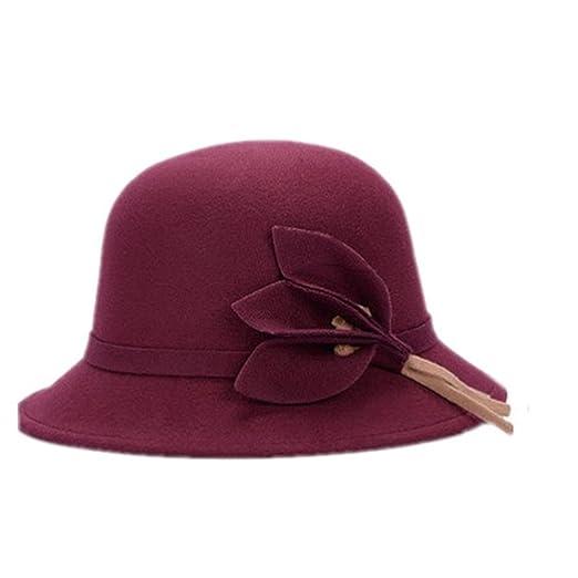 1920s Style Hats Pierre LaMarreDS Women Retro Winter Hat Leaf Shape Attached Fedora Bowler Cap $5.68 AT vintagedancer.com