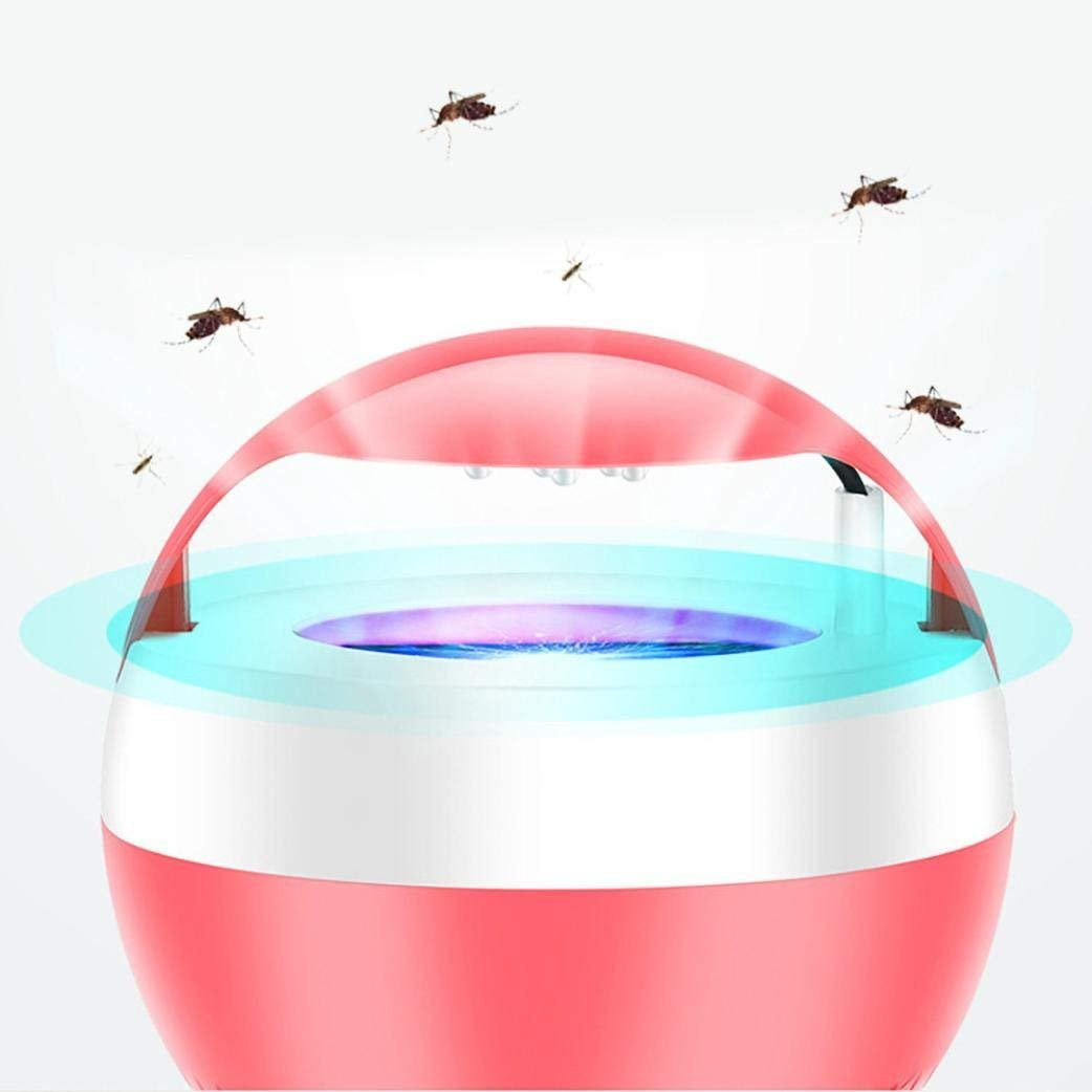 Hurbo LED Mute No Radiation Bedroom Photocatalyst USB Suction Mosquito Lamp, Fan Suction Traps Even the Tiniest Flying Insects, Child-Safe, Non-Toxic Odor-Free (Red) by Hurbo