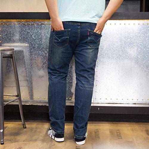 Uomo Denim Pantaloni Casual Blu Scuro Elastici Niseng Lungo Vintage Jeans FqwWTZH