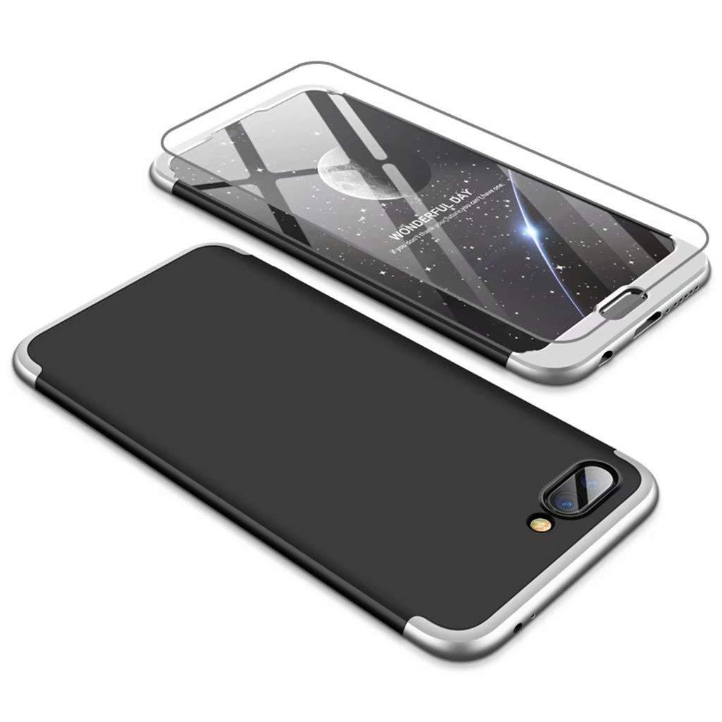 Custodia Huawei Honor 10 Cover [Pellicola Vetro Temperato Protettiva] 360 Grad 3 in 1 Protezione Completa Case Caso Antiurto Coperture Bumper, Blu e Nero JINCHANGWU