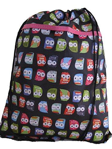 DESIGNS 45cm Owl 36cm Black LOTS Pretty OF W Shoe Drawstring Bag H RgTTp5n7x