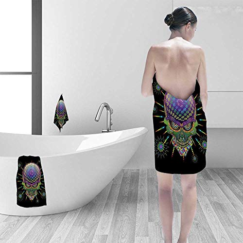 Printsonne 100% Cotton Bathroom Towels Mexican Sugar Skull Festive Ceremony Halloween with Ornate Effects Design Multi Fluffy, and Absorbent, Premium Quality by Printsonne