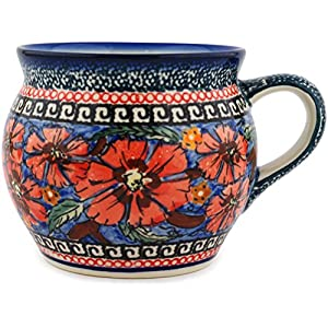 Blue Rose Polish Pottery Jungle Flower Bell Shape Mug