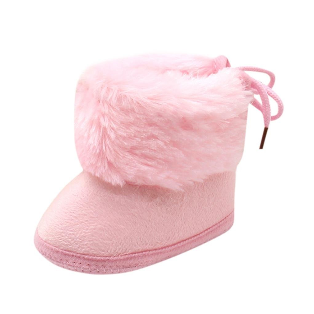 Amiley Christmas Baby Girls Boys Soft Booties Snow Boots Infant Toddler Newborn Warming Shoes (Inches:4.3'', Pink)