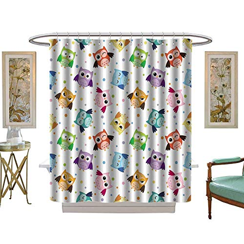 (luvoluxhome Shower Curtains Waterproof Seamless with Colorful Owls W72 x L96 Bathroom Decor Sets with Hooks)