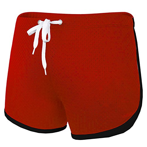 Ouber Men's Lace-Up Workout Mesh Shorts (A-Red,M)