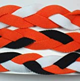 3 PACK! Extreme Sports Braided Mini NON SLIP Sports Headband (Orange White-Orange Black-Orange Black White)
