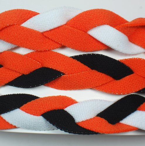 3 PACK! Extreme Sports Braided Mini NON SLIP Sports Headband (Orange White-Orange Black-Orange Black (3 Pack Mini Headbands)