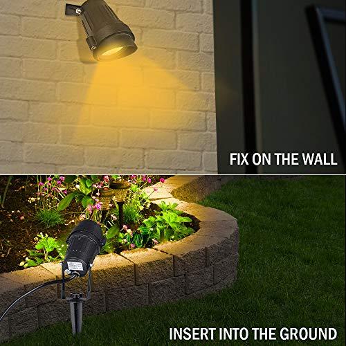 ProGreen 5W COB LED Garden Spike Lights with Plug LED Garden Wall Lawn Yard Floor Lights Waterproof IP65 LED Outdoor Garden Landscape Spotlight with Ground Spike 3000K Warm White