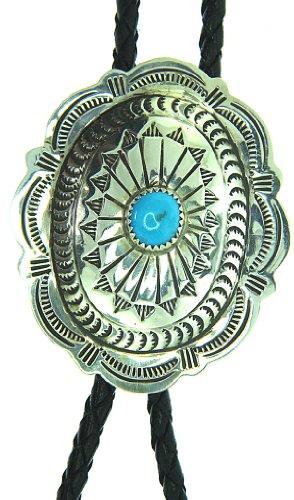 By Navajo Artist Carson Blackgoat: Sterling Silver Turquoise Bolo Tie
