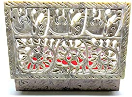 Vintage Marble Stone Artistic Traditional Jewelry Box and