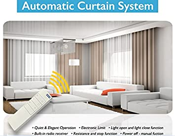 Electric Remote Controlled Drapery System W/8u0027 Track Center Opening U0026  Ceiling Mount Brackets