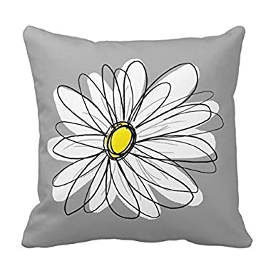 Decors Trendy Daisy with gray and yellow Pillow Case Cushion Cover Home Sofa Decorative 18 X 18 Squares (Twin Sides)