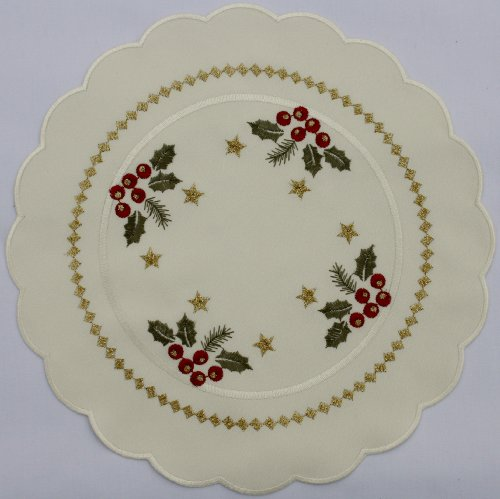 Christmas Doily. Round Shaped and Cream Colored Doily with Holly, Fir Boughs, and Gold Stars. Unique Accent with Gold Diamonds.