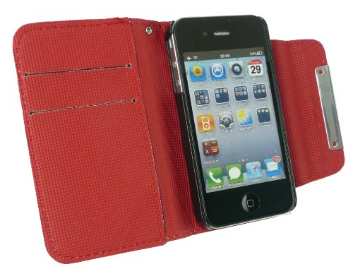 Emartbuy® Value Pack Para Apple Iphone 4S / 4G / 4Gs Faux Suede Leopardo Gris Monedero Caso / Cubierta / Bolsa Con Rojo Interior Y Ranuras Para Tarjetas De Crédito + Cargador De Coche Compatible + Pro