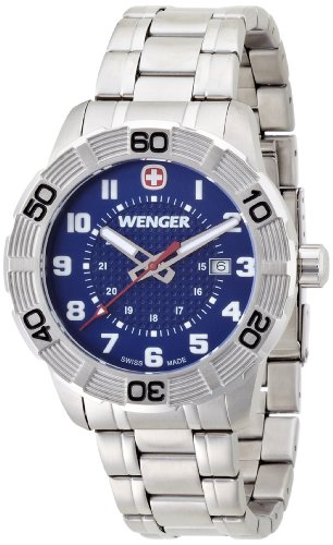Wenger Roadster Men's Quartz Watch with Blue Dial Analogue Display and Silver Stainless Steel Bracelet 010851103