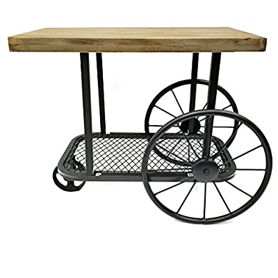 Benzara BM119861 Industrial Design End Table With Wooden Top And Metal Wheels Base, Sand Black - Features wire mesh bottom shelf that allows you to clean up the mess around and keep it intact and organized while the industrial look provides a refined look to your home interiors. Durable: Quality construction add years to its life span, making it an ideal form of furniture in terms of efficiency and style This beautiful end table is made up of mango wood which enhances it durability. - living-room-furniture, living-room, end-tables - 51vucq3VRYL. SS400  -