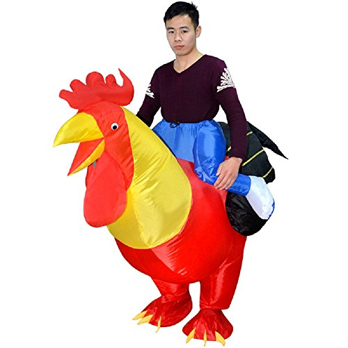 Adult Inflatable Costume Rooster Chicken Big Cock Blow Up Funny Animal Cosplay Suit (Red)]()
