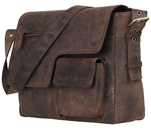 - Leaderachi - 100% Pure Genuine Real Vintage Hunter Leather Handmade Men Women Unisex Crossover Shoulder Messenger [