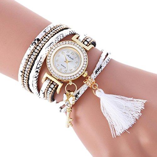 Hunputa Fashion Leather Tassel Band Bracelet Lady Womens Wrist Watch Gift (White)