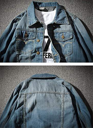 Chaqueta Denim Blau Tamaños Teenagers Jacket Baggy Fashion Outwear T1KclFJ