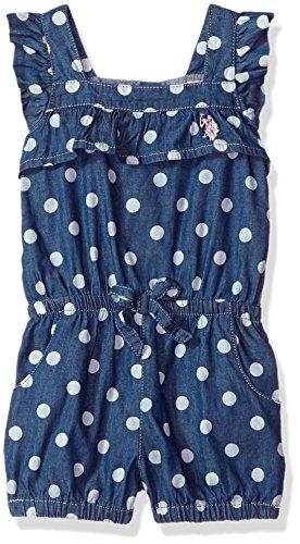 U.S. Polo Assn. Girls' Toddler, Ruffle dots Romper Blue wash, 2T ()