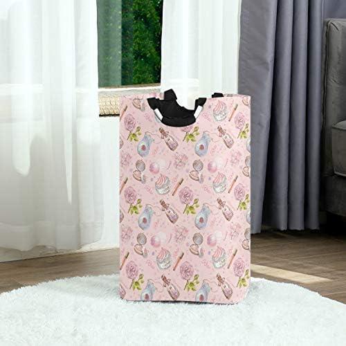 ピンクのバラの花ハンドル付き折りたたみ式ランドリーバスケットバスケットバッグ折りたたみ式収納汚れた服バッグ折りたたみ式洗濯ビン