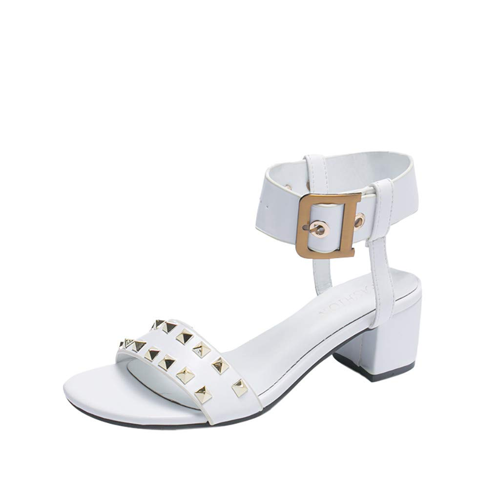 Women Sandals, LIM&Shop  Summer Flat Buckle Strap Studded Shoes Casual Block Heel Wedges Shoes Slipper Soft Non-Slip White