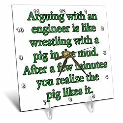 3dRose Arguing with an Engineer Is Like Wrestling a Pig Green Desk Clock, 6 x 6